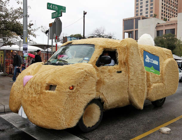 The TaskRabbit task van passes the Austin Convention Center during South by Southwest Saturday March 9, 2013 in Austin, TX. Photo: Edward A. Ornelas, San Antonio Express-News / © 2013 San Antonio Express-News