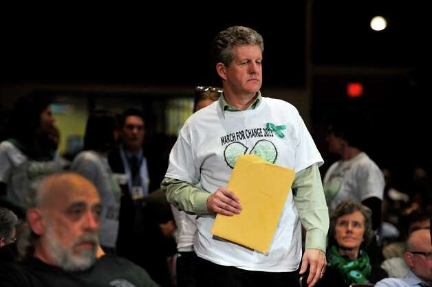 Brad Greene, with the March For Change, at the bipartisan Task Force on Gun Violence Prevention and Children's Safety's final hearing at Newtown High School in Newtown, Conn. on Jan. 30, 2013. Photo: Jason Rearick / The News-Times
