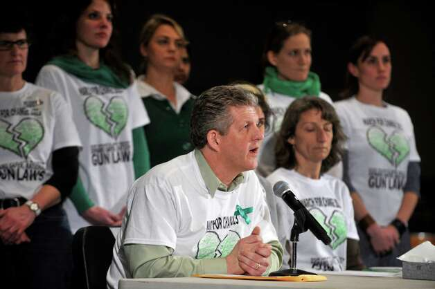 Brad Greene speaks for thr March For Change at the bipartisan Task Force on Gun Violence Prevention and Children's Safety's hearing at Newtown High School in Newtown, Conn. on Jan. 30, 2013. Photo: Jason Rearick / The News-Times