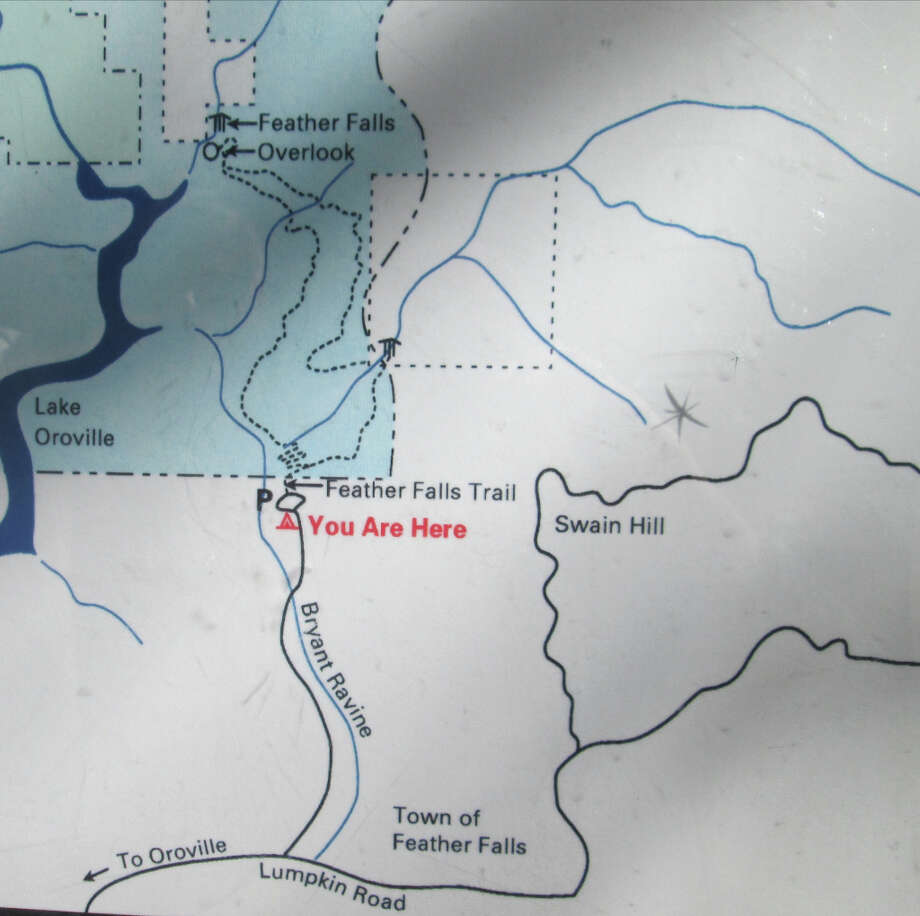 Map of hike: the left fork of loop trail is closed from a damaged bridge