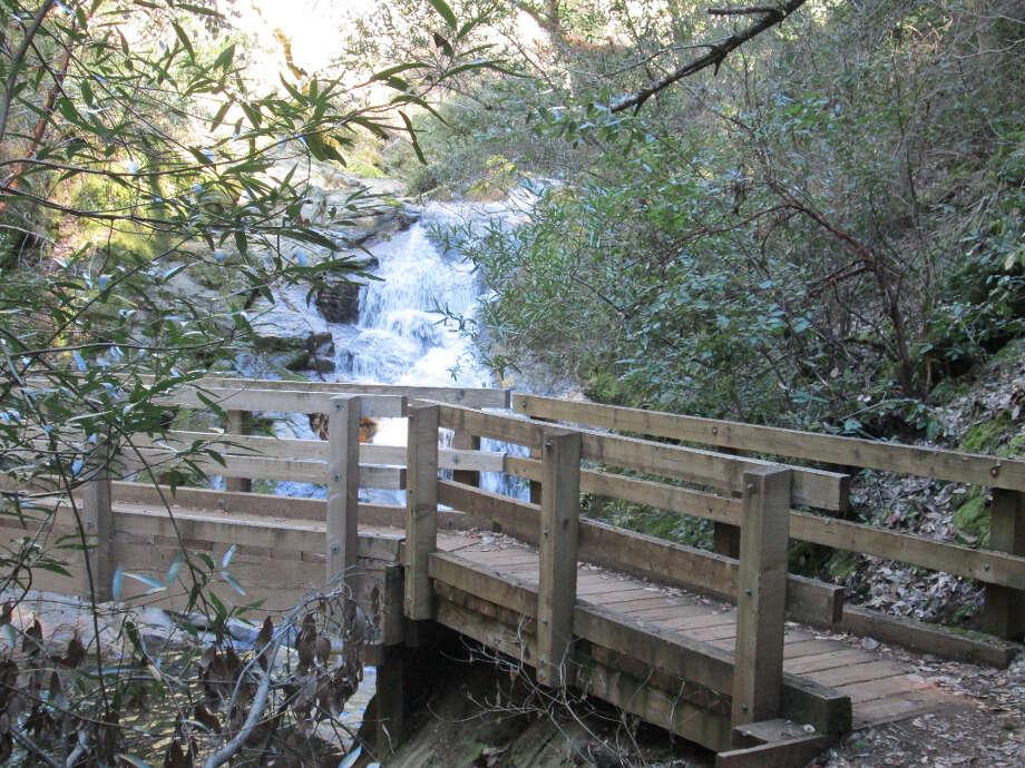 First glimpse of bridge at Frey Creek Falls