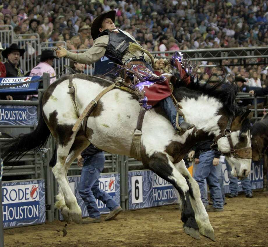 Cory Wright rides and wins saddle bronc during the Super Shootout at RodeoHouston in Reliant Stadium Saturday, March 9, 2013, in Houston. Photo: Melissa Phillip, Houston Chronicle / © 2013  Houston Chronicle