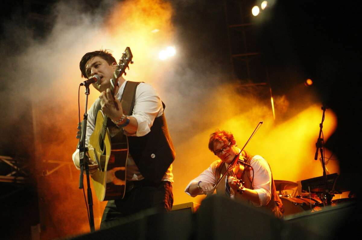 2012: Mumford and Sons perform during a joint free concert with Edward Sharpe and the Magnetic Zeroes.