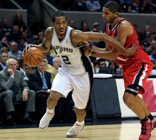 Kawhi Leonard heads to the bucket as the Spurs play the Portland Trail Blazers at the AT&T Center on March 8, 2013. Photo: TOM REEL
