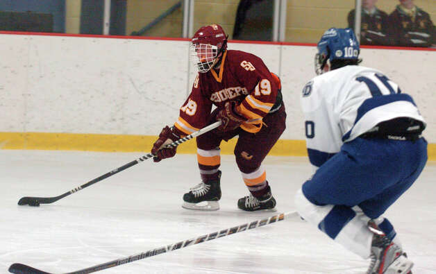 St. Joseph's Dominic DeRosa in action as Darien and St. Joseph High Schools face off in the Division 1 Boys Hockey quarterfinals at Terry Connors Ice Rink in Stamford, Conn., March 9, 2013. Photo: Keelin Daly / Keelin Daly