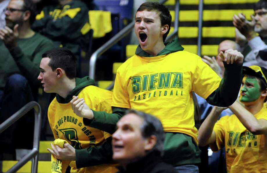 Siena fans cheer for their team during the quarterfinal MAAC Championship basketball game against Niagara on Saturday, March 9, 2013, at MassMutual Center in Springfield, Mass. (Cindy Schultz / Times Union) Photo: Cindy  Schultz / 10021492A