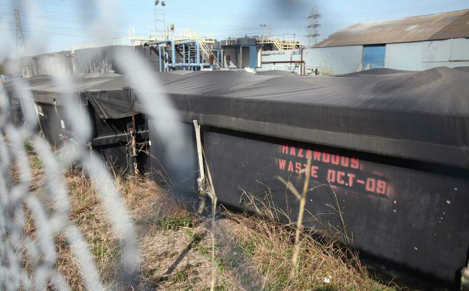 """Hazardous materials abandoned by a businessman who conducted fraudulent """"oil recycling"""" business left a huge superfund site in Pasadena on Thursday, March 7, 2013, in Pasadena.  The businessman has skipped town. Photo: Mayra Beltran, Houston Chronicle / © 2013 Houston Chronicle"""