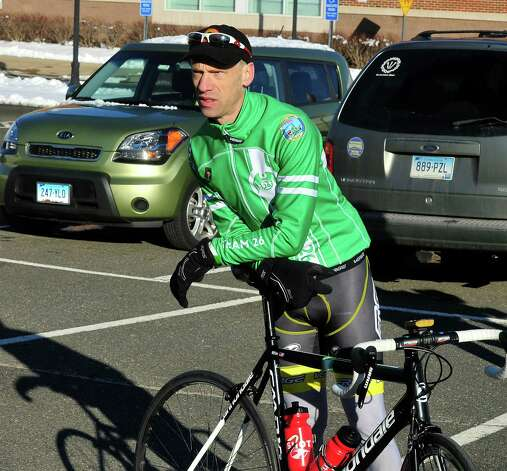 Monte Frank organized the Team 26 Sandy Hook Ride to Washington, D.C., to support gun control legislation. He is preparing to leave Reed Intermediate School in Newtown, Conn. Saturday, March 9, 2013 Photo: Michael Duffy / The News-Times