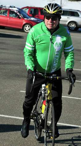 Bethel First Selectman Matt Knickerbocker is part of the Team 26 Sandy Hook Ride to Washington, D.C., to support gun control legislation. He is preparing to leave Reed Intermediate School in Newtown, Conn. Saturday, March 9, 2013 Photo: Michael Duffy / The News-Times