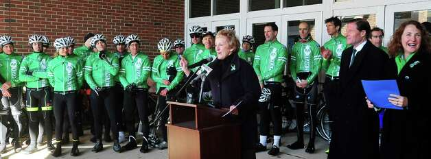 Newtown First Selectman Patricia Llodra, center, speaks before Team 26 and supporting riders leave Reed Intermediate School in Newtown, Conn. Saturday, March 9, 2013 on the Sandy Hook Ride to Washington, D.C., to support gun control legislation. Photo: Michael Duffy / The News-Times