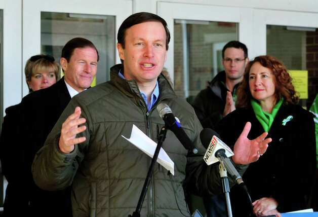 U.S. Sen.Chris Murphy, speaks at the pre-ride ceremony for the Team 26 Sandy Hook Ride to Washington, D.C., to support gun control legislation, preparing to leave Reed Intermediate School in Newtown, Conn. Saturday, March 9, 2013 Photo: Michael Duffy / The News-Times