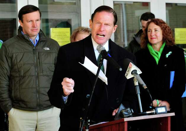 U.S. Sen. Richard Blumenthal, speaks at the pre-ride ceremony for the Team 26 Sandy Hook Ride to Washington, D.C., to support gun control legislation, preparing to leave Reed Intermediate School in Newtown, Conn. Saturday, March 9, 2013 Photo: Michael Duffy / The News-Times
