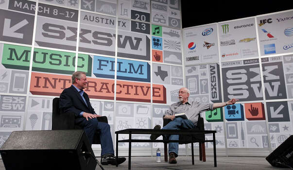 Former Vice President Al Gore (left) and technology columnist for The Wall Street Journal and co-executive editor of allthingsd.com Walt Mossberg speak at the Austin Convention Center during South by Southwest Saturday March 9, 2013 in Austin, TX. Photo: Edward A. Ornelas, San Antonio Express-News / © 2013 San Antonio Express-News