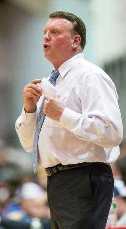 Ridgefield high school's boys basketball head coach Carl Charles during a quarterfinal round 2013 CIAC class LL boys basketball tournament game against Fairfield Prep held at Alumni Hall, Fairfield University, Fairfield CT on Saturday March 9th 2013. Photo: Mark Conrad / Connecticut Post Freelance
