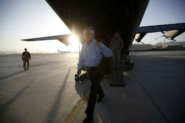 JALALABAD, AFGHANISTAN - MARCH 9:  US Defense Secretary Chuck Hagel steps off a C-130 aircraft after visiting with members of the 101st Airborne Airborne Division at Jalalabad Airfield on March 9, 2013 near the southeast of Jalalabad city, Afghanistan. Hagel is on his first official trip since being sworn in as US President Obama's Defense Secretary.    (Photo by Jason Reed-Pool/Getty Images) *** BESTPIX *** Photo: Pool, Getty Images