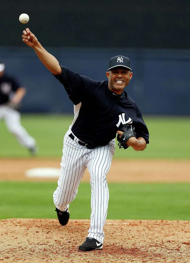 TAMPA, FL - MARCH 09:  Pitcher Mariano Rivera #42 of the New York Yankees pitches against the Atlanta Braves during a Grapefruit League Spring Training Game at George M. Steinbrenner Field on March 9, 2013 in Tampa, Florida.  (Photo by J. Meric/Getty Images) Photo: J. Meric