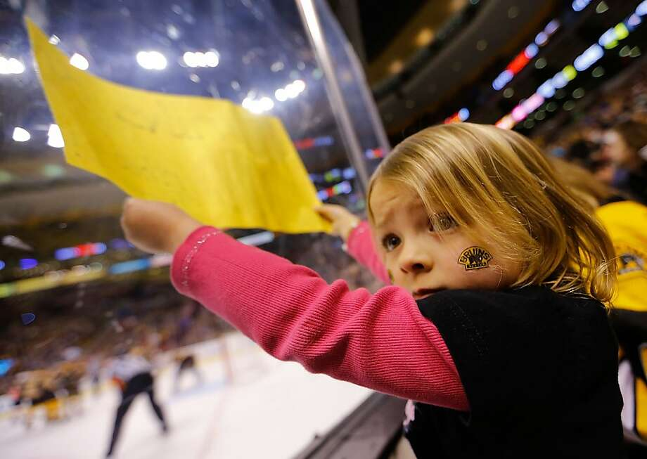 BOSTON, MA - MARCH 9: A young fan holds up a sign along the boards during the game between the Boston Bruins and the Philadelphia Flyers on March 9, 2013 at TD Garden in Boston, Massachusetts. (Photo by Jared Wickerham/Getty Images) Photo: Jared Wickerham, Getty Images
