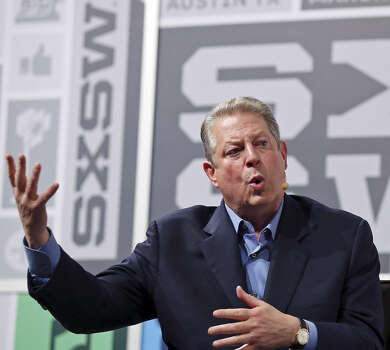 "Former Vice President Al Gore speaks during the South by Southwest Interactive Festival on Saturday. Gore was discussing his new book ""The Future: Six Drivers of Global Change,"" which says Earth is being abused, technology is amiss and special interest groups control the government. Photo: Edward A. Ornelas / San Antonio Express-News"