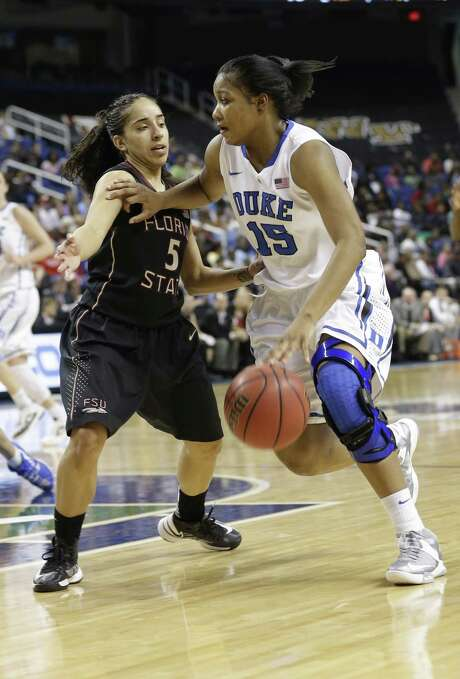 Duke's Richa Jackson (right) drives past Florida State's Yashira Delgado in the second half. Photo: Chuck Burton/ Associated Press