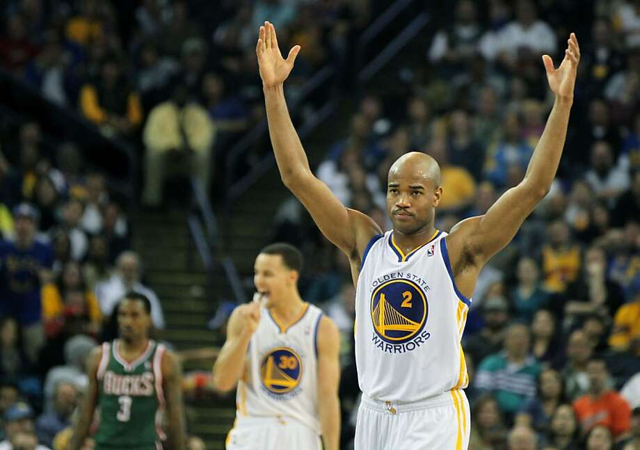 Golden State Warriors guard Jarrett Jack (2) throws up his arms in disagreement over an offensive call against his teammate Carl Landry, not in photo, during the second half of their NBA basketball game with the Milwaukee Bucks Saturday, March 9, 2013, in Oakland Calif. Photo: Lance Iversen, The Chronicle