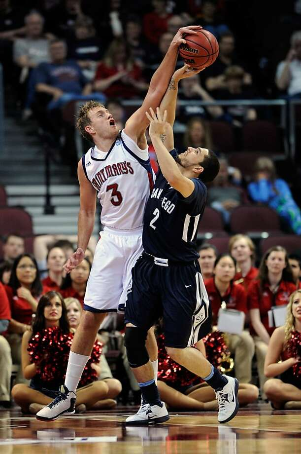 LAS VEGAS, NV - MARCH 09:  Mitchell Young #3 of the Saint Mary's Gaels  blocks a shot from Mike Davis #2 of the San Diego Toreros during a semifinal game of the West Coast Conference Basketball tournament at the Orleans Arena March 9, 2013 in Las Vegas, Nevada.  (Photo by David Becker/Getty Images) Photo: David Becker, Getty Images