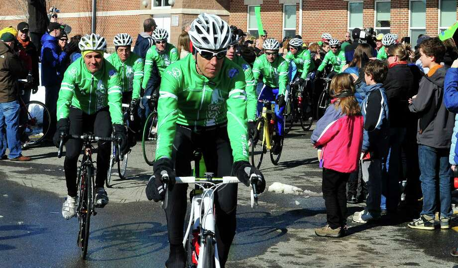 Team 26 and supporting riders leave Reed Intermediate School in Newtown, Conn. Saturday, March 9, 2013 on the Sandy Hook Ride to Washington, D.C., to support gun control legislation. Photo: Michael Duffy / The News-Times