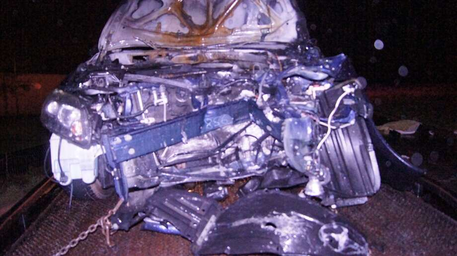 This car was damaged in the overnight accident in Spring. (J. Scott Engle/Montgomery County News Reporter)