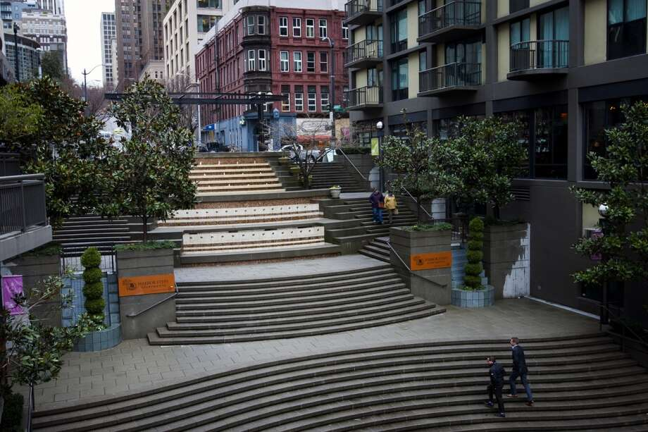 Walkers navigate the curvature of the Harbor Steps on Thursday, Feb. 28, 2013, in Seattle. (Jordan Stead, seattlepi.com)
