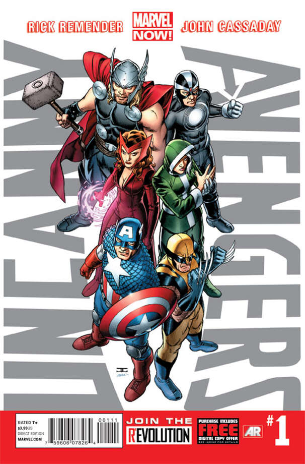 This image provided by Marvel Entertainment shows the cover of the first issue of Uncanny Avengers. In comics, the first issue is where the story starts and the legend begins. Marvel Entertainment, home to the Fantastic Four, the X-Men and the Avengers, among others, is making more than 700 first issues available to digital readers starting Sunday, March 10, 2013, via its app and website. (AP Photo/Marvel Entertainment) Photo: Uncredited