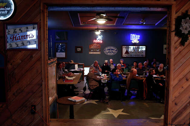 The Republic of Texas government — accompanied by supporters and guests — holds a monthly meeting at the Silver Eagle Taphouse in McQueeney. Photo: Lisa Krantz, San Antonio Express-News / San Antonio Express-News