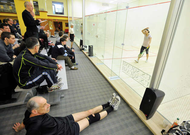 Spectators watch the U.S. Squash Championships at Chelsea Piers in Stamford on Sunday, March 10, 2013. Photo: Jason Rearick / The Advocate