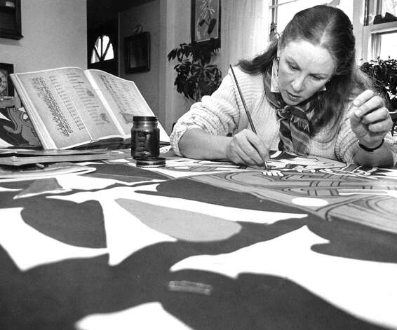 The works of Celtic banner artist Barbara Hayden, shown here, were displayed at the Stamford Government Center in March 1988 as part of a tribute to Irish culture. Photo: Advocate