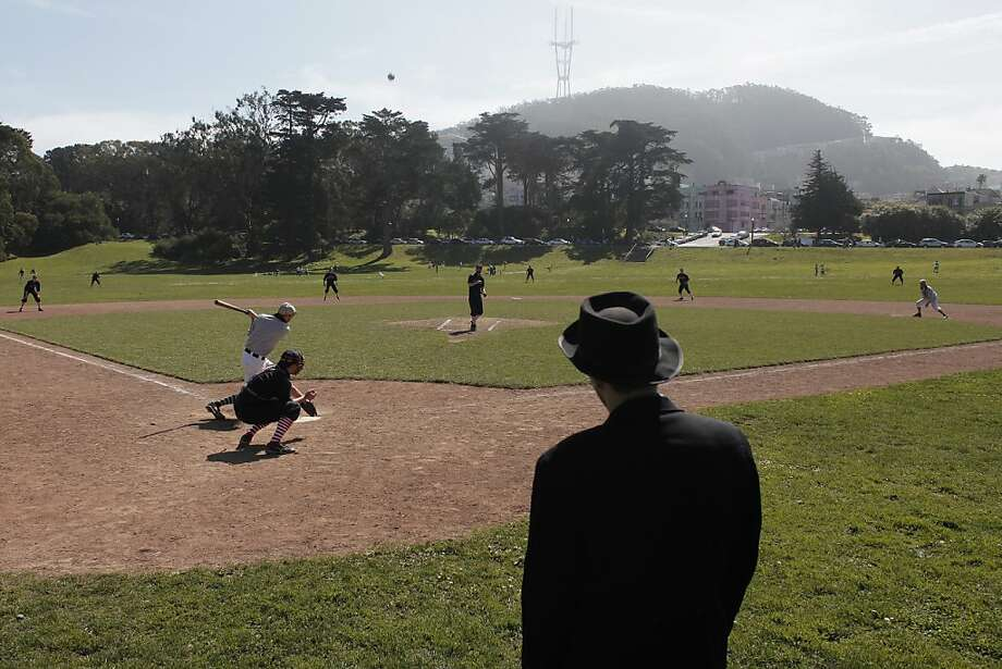 Umpire David Bell watches the game between the San Francisco Pelicans and the San Francisco Pacifics at Golden Gate Park on Sunday, March 10.  Vintage baseball captures the spirit of the game in the 1880s by using the same equipment and rules. Photo: James Tensuan, The Chronicle