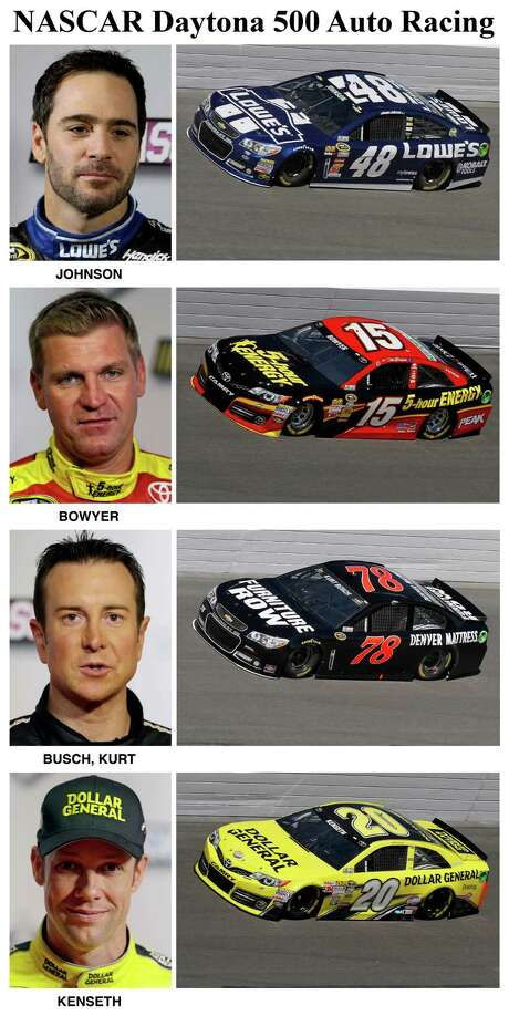 In these photos taken in February 2013, qualifying drivers and their cars in the starting field for Sunday's NASCAR Daytona 500 Sprint Cup Series auto race are shown at Daytona International Speedway in Daytona Beach, Fla. They are, from top, Jimmie Johnson, Clint Bowyer, Kurt Busch and Matt Kenseth. (AP Photo) Photo: STF / AP