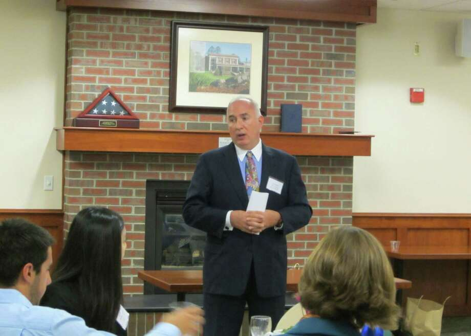 Thomas Hart, Eliassen Group's staffing business development leader and CMO, presents job-hunting seminars to corporate, educational and civic groups around the country. Here he speaks to students at Endicott College in Beverly, Mass., about job hunting after graduation.