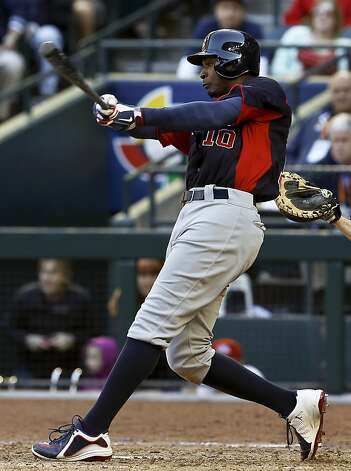 United States' Adam Jones connects with the ball in the ninth inning during a World Baseball Classic baseball game against Canada on Sunday, March 10, 2013, in Phoenix.  The United States defeated Canada 9-4. (AP Photo/Ross D. Franklin) Photo: Ross D. Franklin, Associated Press