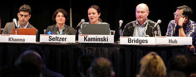 Derek Khanna (from left), Wendy Seltzer, Margot Kaminski,  Andrew Bridges, and Ben Huh participate in the panel discussion Copyright & Disruptive Technologies at the Austin Convention Center during South by Southwest Sunday March 10, 2013 in Austin, TX. Photo: Edward A. Ornelas, San Antonio Express-News / © 2013 San Antonio Express-News
