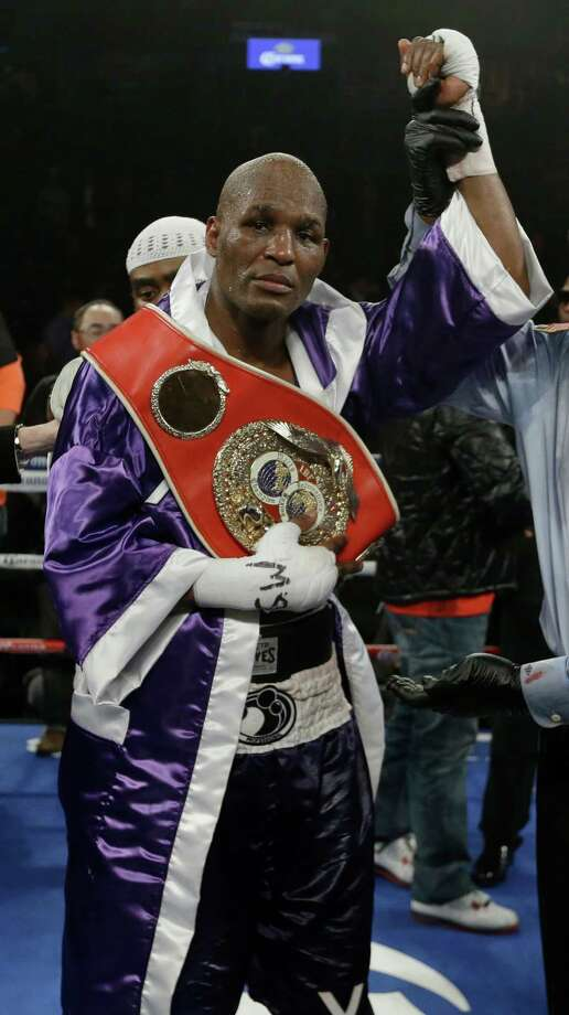Bernard Hopkins poses for photographs after an IBF Light Heavyweight championship boxing match against Tavoris Cloud at the Barclays Center Saturday, March 9, 2013, in New York. Hopkins won by unanimous decision. (AP Photo/Frank Franklin II) Photo: Frank Franklin II