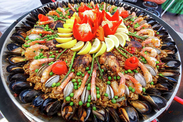 A paella dish prepared by Memorial High School Culinary Arts during the 4th Annual Corona Paella Challenge, hosted by La Gloria chef, Johnny Hernandez, on the grounds of the Pearl Brewery on Sunday, March 10, 2013.  Twenty-five of the top chefs in this country and throughout Latin America competed in the event as well as five area high schools. Photo: Marvin Pfeiffer / San Antonio Express-News / Express-News 2013
