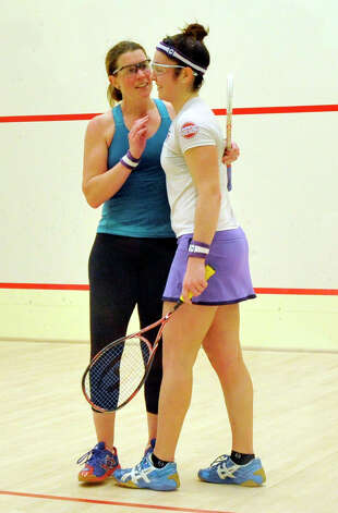 Greenwich resident Natalie Grainger, left, congratulates her opponent, Amanda Sobhy, after beating her to win the U.S. Womens Squash Championships at Chelsea Piers in Stamford on Sunday, March 10, 2013. Photo: Jason Rearick / The Advocate