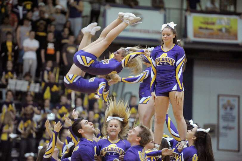 UAlbany cheer leaders perform during a time out at the UAlbany Stony Brook game at the SEFCU Arena o