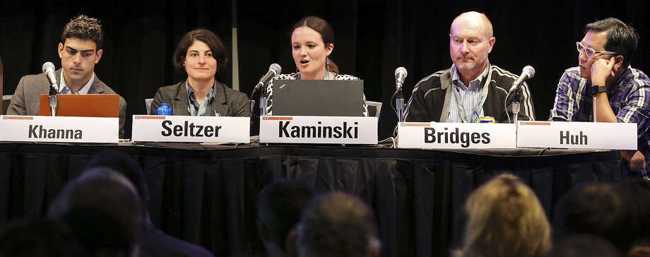 Derek Khanna (from left), Wendy Seltzer, Margot Kaminski, Andrew Bridges and Ben Huh participate in a panel discussion Sunday on copyright law. The panel framed last year's battle over anti-piracy legislation as part of a larger fight. Photo: Edward A. Ornelas / San Antonio Express-News