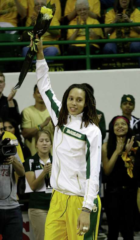 Baylor center Brittney Griner (42) acknowledges fans after an NCAA college basketball game against Kansas State, Monday, March 4, 2013, in Waco, Texas. (AP Photo/LM Otero) Photo: LM Otero, STF / AP