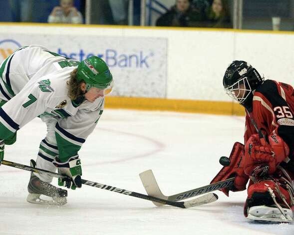 The Whalers' Mike Atkinson has his shot off a rebound stopped by Thousand Islands goalie Matt Anthony during a Federal Hockey League semifinal playoff game Sunday night, Mar. 10, 2013, at the Danbury Arena. Photo: Barry Horn / The News-Times Freelance