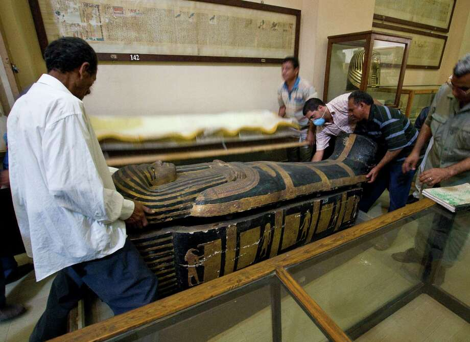 In this undated photo released Sunday March 10, 2013, by a group of cardiologists lead by Saint Luke's Mid America Heart Institute in Kansas City, USA, showing the sarcophagus of the mummy Hatiay (New Kingdom, 18th Dynasty, 1550 to 1295 BCE) as it is closed after the mummy underwent a CT scanning, in Cairo, Egypt. This scanning is part of a major survey to investigate some 137 mummies which has revealed that people probably had clogged arteries and heart disease some 4,000 years ago.  CT scans of 137 mummies showed evidence of atherosclerosis, or hardened arteries, in one third of those examined, including those from ancient people believed to have healthy lifestyles. Photo: Dr. Michael Miyamoto