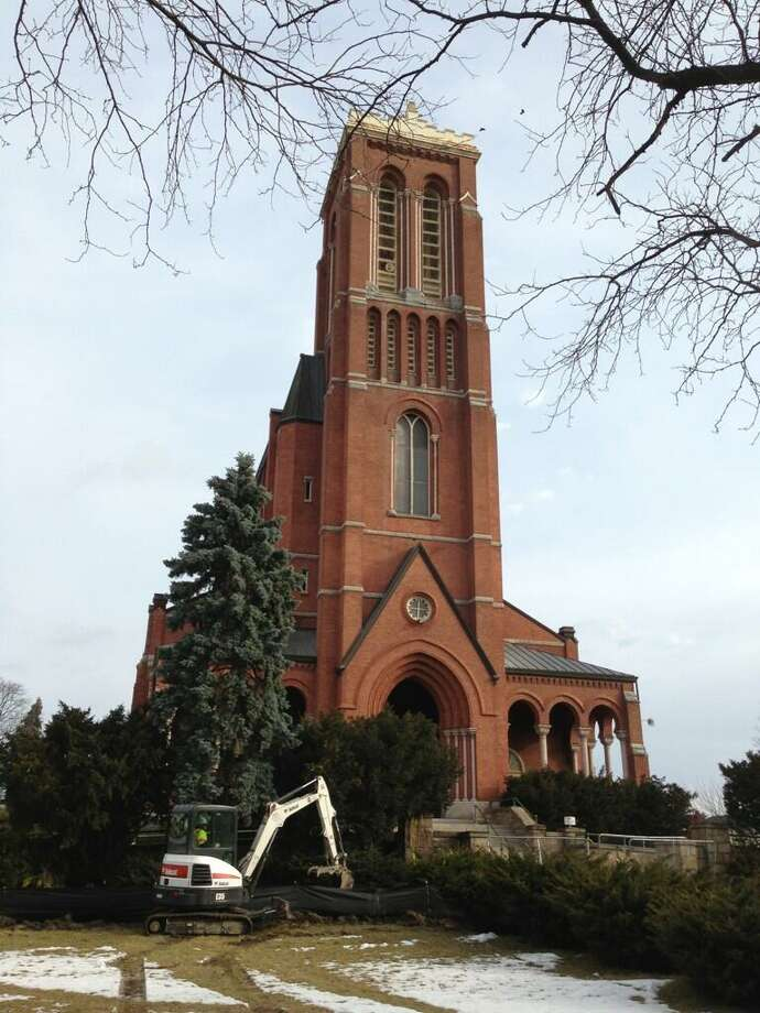 Preparation work has begun for the demolition of St Patricks Church in Watervliet. (Skip Dickstein / Times Union)