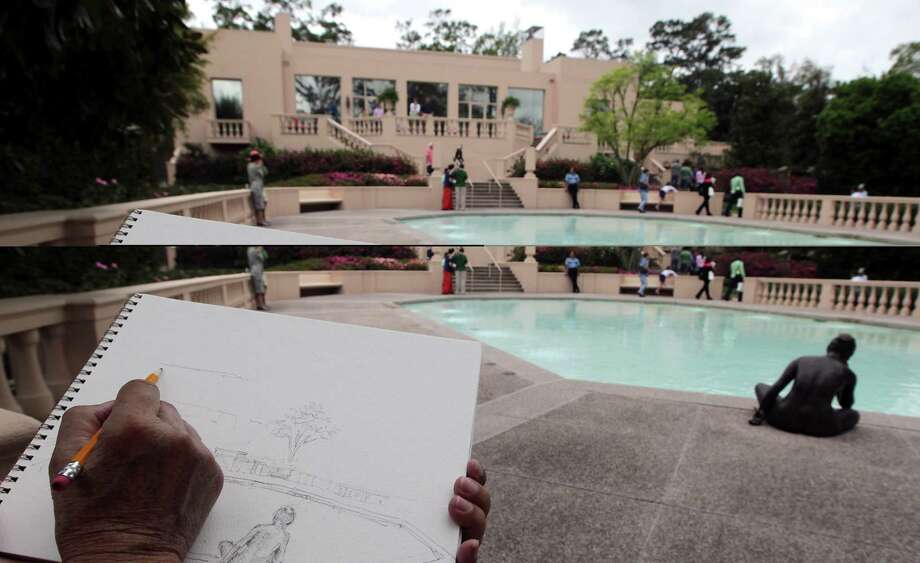 Duong Phuoc Luyen works on a sketch for a painting at Reinzi located at 1406 Kirby during the River Oaks Garden Club 78th Annual Azalea Trail Saturday, March 9, 2013, in Houston. Photo: James Nielsen, Houston Chronicle / © 2013  Houston Chronicle