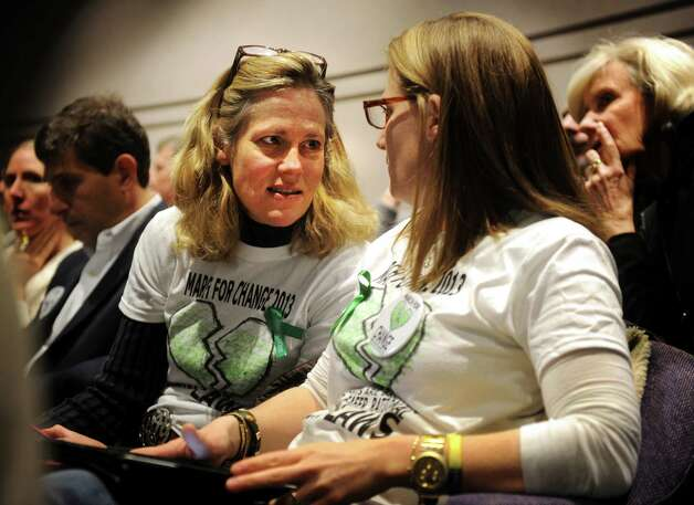 Meg Staunton, left, and Nancy Lefkowitz, both of Fairfield, organizers of the gun control group March for Change, attend the Gun Violence Prevention Working Group hearing at the Legislative Office Building in Hartford on Monday, January 28, 2013. Photo: Brian A. Pounds