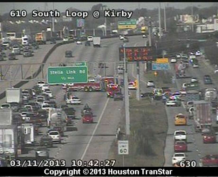 Traffic was snarled after a crash on the South Loop near S. Main and Kirby on Monday morning. Photo: Houston Transtar