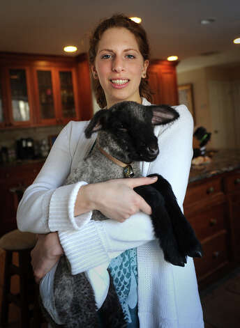 Sophia Tramuta, 16 of Milford, holds lamb Chihiro at her home on Sunday, March 10, 2013. Tramuta, a student at Trumbull High School's Agriscience Center, is raising the lamb at home, after it was rejected by it's mother. Photo: Brian A. Pounds / Connecticut Post